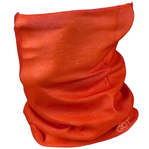GOT Sports Face Covering Gaiter Mask - Works as Scarf, Neck Gaiter, Headwear, Fishing Sun Mask, Headband, Bandana, Balaclava - Reusable Mask Breathable Microfiber (Blaze Orange)