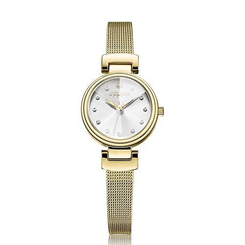 CHENDX Julius Simple Manera de Las señoras Tridimensional Espejo del Reloj del Acero Inoxidable Reloj Pulsera (Color : D)