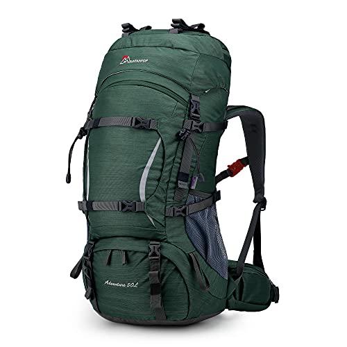 MOUNTAINTOP 50/70L Mochila de Senderismo Impermeable, Mochilas de Trekking Unisex Multifunción para Acampadas Excursiones Viajes (50L-Verde azulado medio)