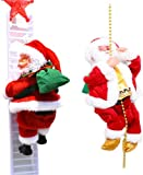 GPMYYBD Escalera de escalada eléctrica Santa Claus - | Sube arriba y abajo |, cuerda de escalada Santa Claus juguete con pilas con música ligera (A+B)