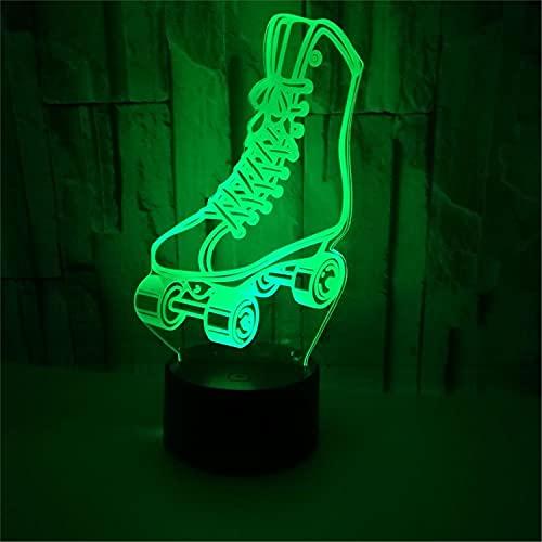 SLJZD luz de noche Diseño De Patines Interruptor Táctil De Luz De Noche Led 3D Para Decoración De Bodas Lámpara De Cabecera Led De 7 Colores Regalo Creativo Para Amigos Con Control Remoto