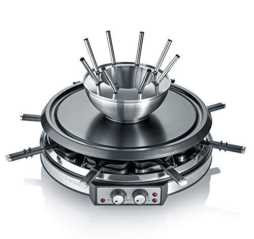 Severin RG 2348 Combinación de Raclette, cable de alimentación XXL, 1.900 W, incluye cacerola de fondue de acero inoxidable y 8 mini-sartenes, 1900 W, De plástico, Plata