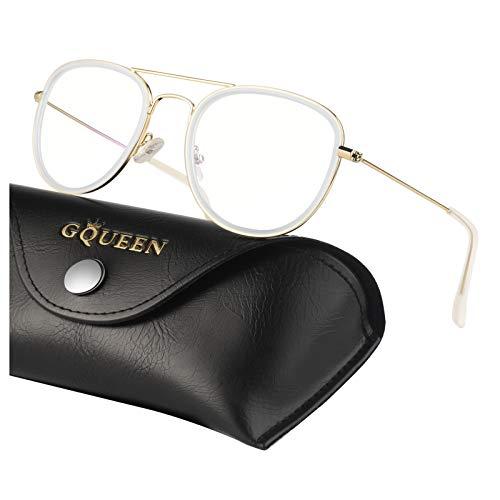 GQUEEN Elegantes gafas de computadora con filtro de luz azul, antideslumbrante, fatiga ocular anti, 100% de protección UV, lente transparente Marco de metal clásico aviador, GQ27
