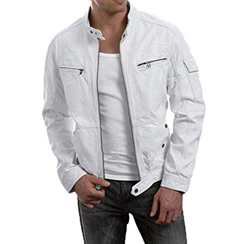 New Fashion Style Mens Leather Jackets Motorcycle Bomber Biker White Real Leather Jacket Men