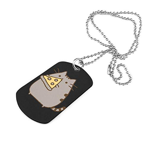 Cat Eating Pizza Custom Military Necklace Keychain Pendant Dog Tag Jewelry Pendant