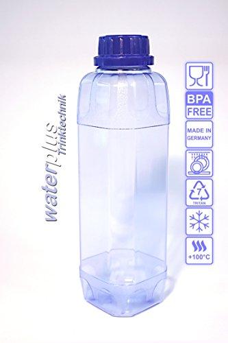 2 x TRITAN Trinkflasche 1,0 Liter (eckig) + 2 Dichtdeckel + 2 Standarddeckel 100% ohne Weichmacher Wasserflasche Sportflasche Flasche Getränkeflasche ohne Weichmacher ohne Schadstoffe BPA frei geruchsfrei und geschmacksneutral aus Deutschland