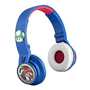 Super Mario Wireless Bluetooth Portable Kids Headphones with Microphone, Volume Reduced to Protect Hearing Rechargeable…