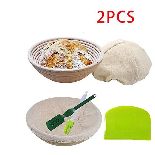 KEBEIXUAN Banneton Pan Cesta de fermentación 2 Paquetes Raspador de Pan de Silicona+Cepillo de Silicona+Herramienta de Cuchilla de Pan Francés (5IN)