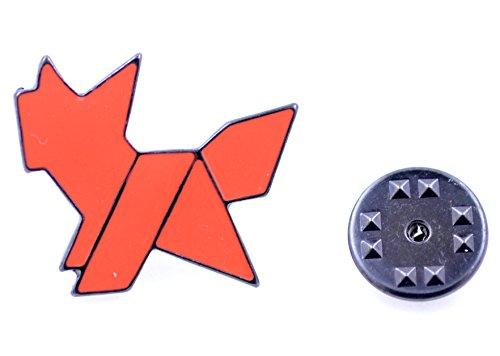 Lizzyoftheflowers–Esmalte plegable de papel Origami rojo cachorro/perro Pin/broche