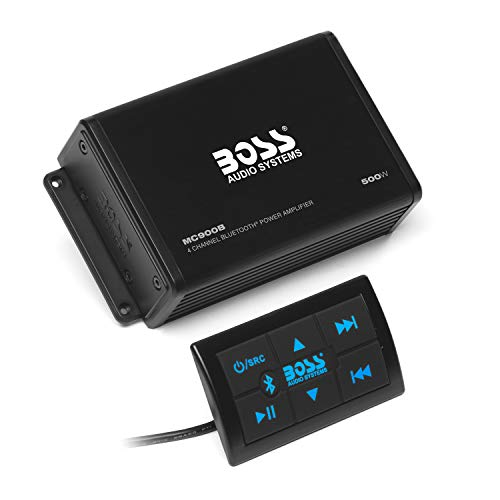 BOSS Audio Systems MC900B 4 Channel Weatherproof Amplifier – Bluetooth, 500 Watts, Bluetooth Multi-Function Remote, Full Range, Class A/B, 4-8 Ohm Stable, Aux-in, RCA Outputs, USB Charging