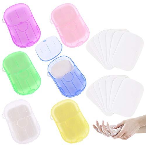 GOLDGE 350 Piezas o Más Jabón Desechable Papel, Jabones en Papel Desechables con 6 Caja de Plástico para Exteriores Camping Senderismo Viajes (Colores Diferentes)