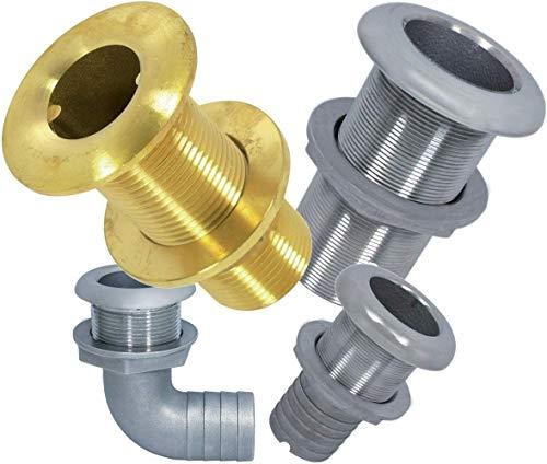 Borddurchlass Edelstahl A4 oder Messing mit Zoll = AG in Industriequaltät auch mit Schauchanschluss verschiedener Innendurchmessern = ID (Edelstahl A4-AISI316, 3/4
