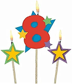 #8 Decorative Birthday Candle & Star Candles  Party Supply