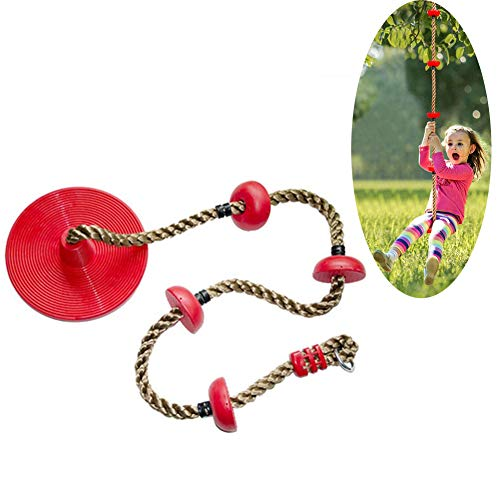 Climbing Rope Tree Swing with 4 Platforms And Red Disc Swings Seat Outdoor Playground Set Accessories Outdoor Sport for Kids Teens And Adults