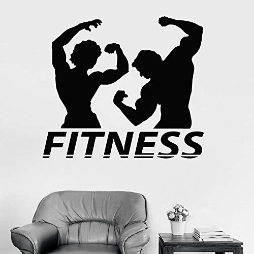 Tianpengyuanshuai Fitness Wandtattoos Paar Muskel Bodybuilding Gym Dekoration Fenster Vinyl Aufkleber Pose Wandbild abnehmbare 63x70cm