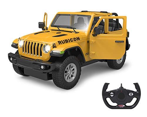 Jamara 405178 Jeep Wrangler JL 1:14 gelb 2,4GHz Tür manuell-offiziell lizenziert, bis 1 Std Fahrzeit, ca. 11 Kmh, perfekt nachgebildete Details, detaillierter Innenraum, LED Licht