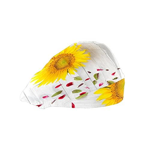 Gorra de mujer para cabello largo con banda para el sudor ajustable y elástico de trabajo gorras para hombres bufanda de cabeza de trabajo impreso 3D sombreros girasol colocado pétalos madera