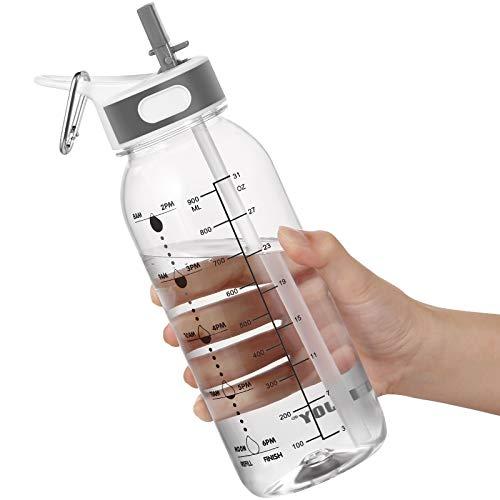Botella de Agua Deportiva, 1 Litre Water Bottle con Pajita y Asa, Botella Gimnasio con Botella Agua Marcador Tiempo para Recordar la Hora de Beber sin BPA,ideal para Gimnasio, Oficina