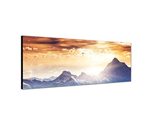 Wandbild auf Leinwand als Panorama in 150x50cm Winterlandschaft Berge Wald Schnee Sonne