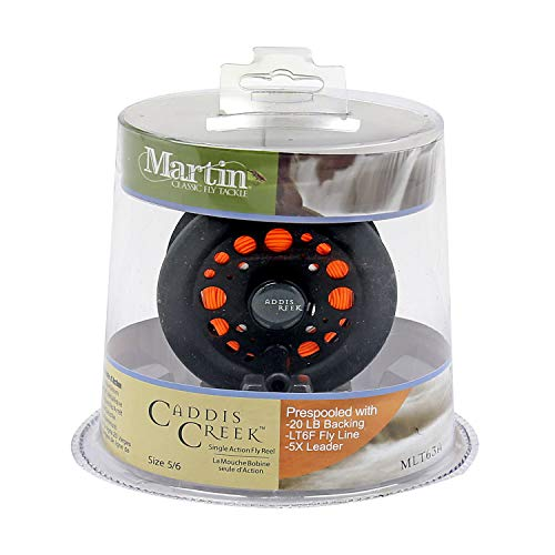 Martin Fly Fishing Caddis Creek 6/5 Single Action Fly Fishing Reel, Reinforced Aluminum Spool is Pre-Spooled with 20-Pound Backing, LT6F Fly Line and 5X Leader, Black, Model: MLT63A,CP4
