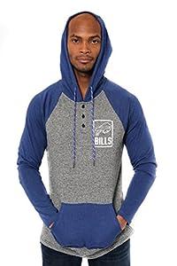 Ultra Game Men's NFL Fleece Hoodie Pullover Sweatshirt Henley, Buffalo Bills, Team Color, Large