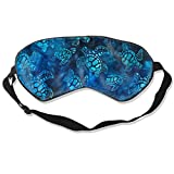 Lightweight and Comfortable Super Soft Adjustable Watercolor Blue Sea Turtle Eye Mask for Sleeping Shift Work Naps Night Blindfold Eyeshade for Men and Women