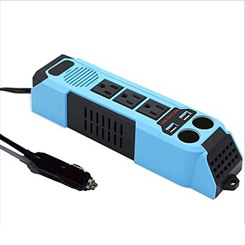 aeliussine 100W Car Power Inverter DC 12V to 110V 120v AC Converter with 3 US Sockets and Dual 2.4A 5V USB Ports Dual Cigarette Lighter Socket Adapter
