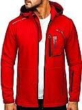 BOLF Hombre Chaqueta de Entretiempo Softshell con Capucha Cierre de Cremallera Impresión Cazadora Ropa de Abrigo Outdoor Estilo Deportivo J.Style HH024 Rojo M [4D4]