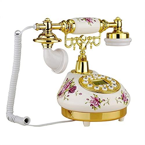 ELKeyko Teléfono Retro Antiguo Cordon Landline Teléfonos caseros Base Redonda Cerámica Europea Viejo Teléfono para el hogar Uso del Negocio