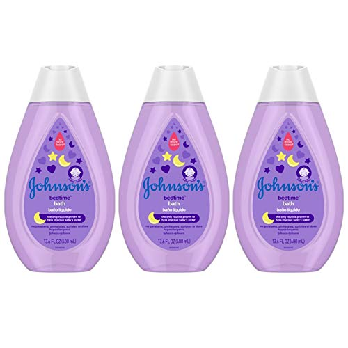 Johnson's Bedtime Baby Bath with Soothing NaturalCalm Aromas, Hypoallergenic & Tear-Free Liquid Baby Bath Formula, No Parabens, Sulfates, Dyes, or Phthalates, 13.6 fl. oz