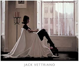 In Thoughts of You Jack Vettriano Romance Love Windows Print Poster (Overall Size: 19.75x15.75) (Image Size: 18.5x13.5)