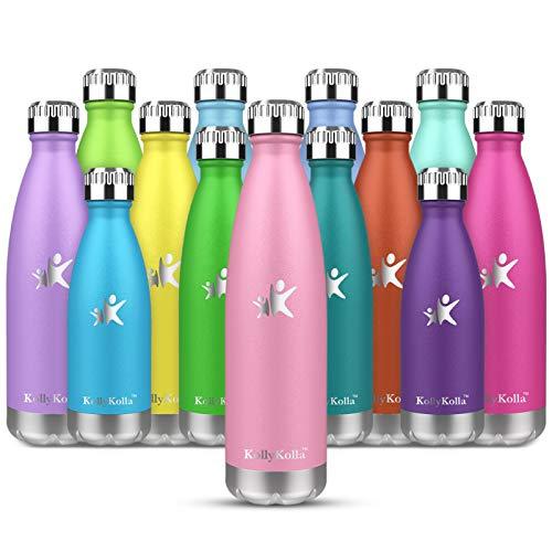 KollyKolla Bottiglia Acqua in Acciaio Inox, 500ml Senza BPA Borraccia Termica, Isolamento Sottovuoto a Doppia Parete, Borracce per Bambini, Scuola, Sport, All'aperto, Palestra, Yoga, Rosa
