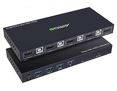 AIMOS HDMI KVM Switch Box, 4 in 1 Out UHD 4K@60Hz, USB Switch Selector with 4 USB2.0 Hub, 4 Computers Share 4 USB 2.0 Devices and one HD Monitor, Support Wireless Keyboard and Mouse