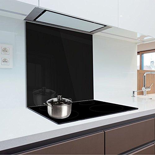 Küchenrückwand aus gehärtetem Glas 70x50 cm Glaspaneel 4 cm Dicke, Farbe: Schwarz FMK-51-070
