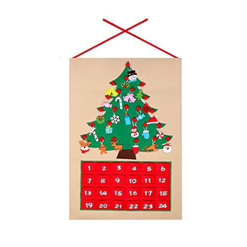 Árbol de Navidad Tela Adviento Calendario de Navidad Calendario de Adviento de Navidad Cuenta atrás Calendario del árbol de Navidad calendarios de Adviento para niños Inicio Drocrationg