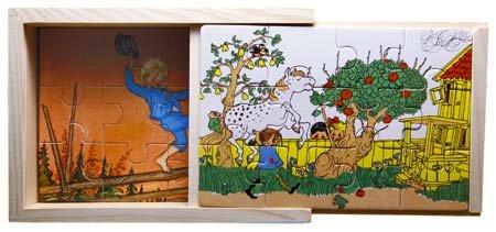 Astrid Lindgren vier Puzzle in einer Holzkiste