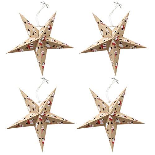 MIK funshopping kerstster papieren ster voor kerst set van 4 Marro 22 cm Beige met geschenken en kerstboommotieven