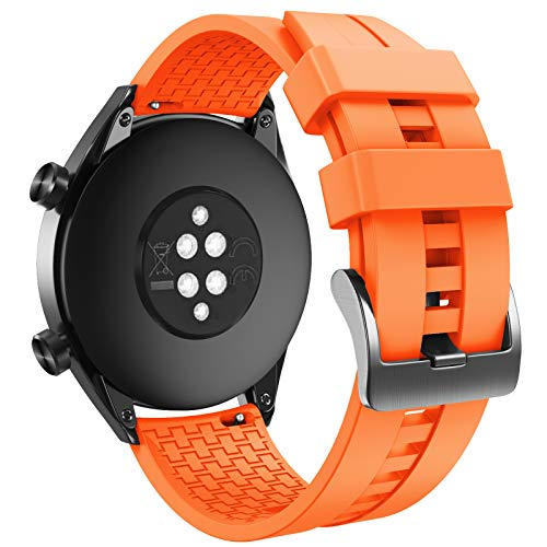 ANBEST Silikon Armbänder Kompatibel mit Huawei Watch GT 2e/GT 2 46mm/GT 2 Pro Armband, 22mm Ersatzarmband für Huawei Watch GT Active Smart Watch(Orange)