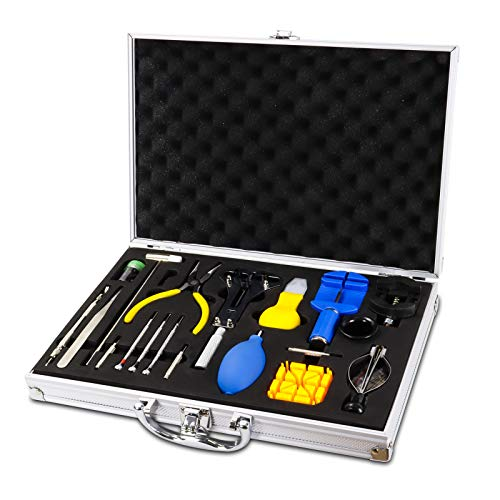 Uhrenwerkzeug, Qfun Uhrmacherwerkzeug Set Hochwertige Reparatur Set Uhr Reparatur Werkzeug mit Fortschrittliches Gehäuse aus Aluminiumlegierung