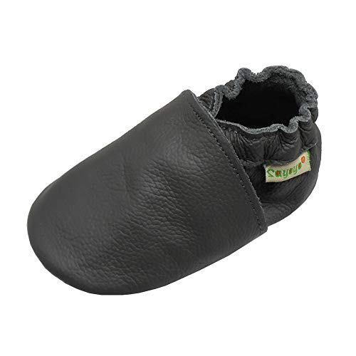 SAYOYO Lowest Best Baby Soft Sole Prewalkers Skid-Resistant Baby Toddler Shoes Cowhide Shoes(12-18 Montrhs,Grey)