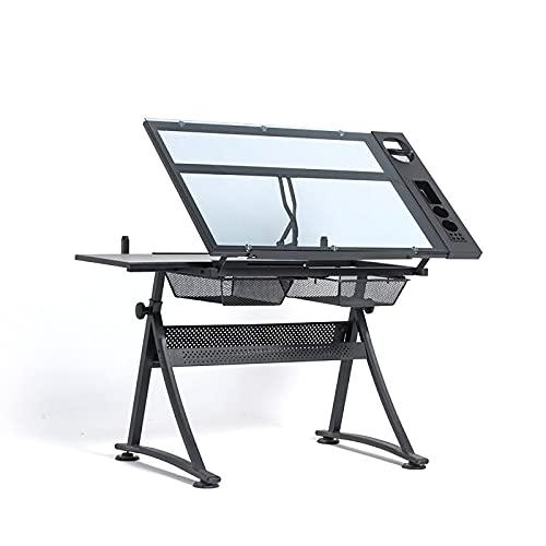ZDAMN Mesa de pintura para niños americanos para adultos, mesa de dibujo de cristal, mesa de trabajo, mesas de dibujo para arte (color: negro, tamaño: 96 x 60 x 68 cm)