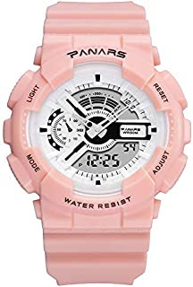 GengZn Women'S Digital Watch,Outdoor LED Backlight 50m Waterproof Sports White Quartz Movement Multiple Functions Analog E...