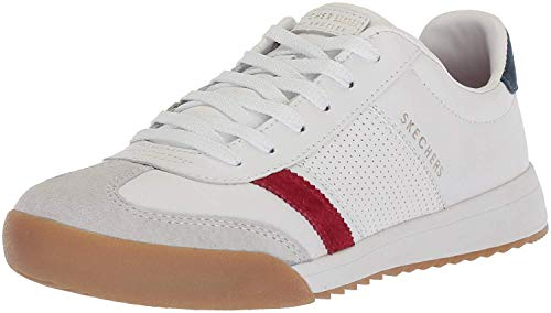 Skechers Women's Zinger-Retro Rockers Sneakers, White (Wht Leather/Red Suede/Nvy Suede Trim Yellow Wrnv), 5 (38 EU)