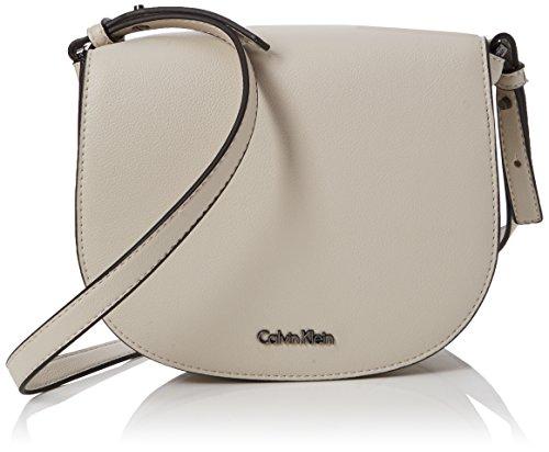 Calvin Klein - Metropolitan Saddle Bag, Bolsos bandolera Mujer, Gris (Cement/Off White),...