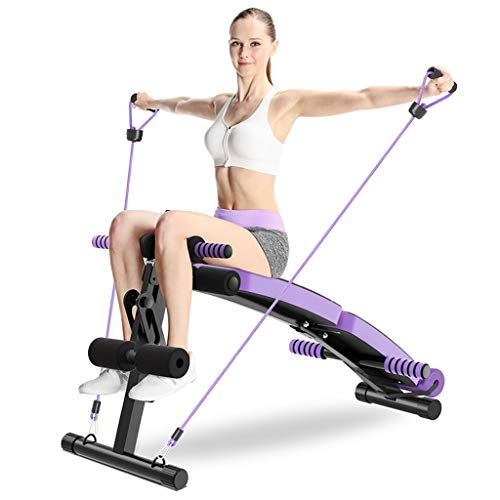Best Deals! DLT AB Bench Decline Slant Board, Black Purple Gym Exercise Reverse Crunch Handle Abdomi...