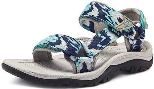 ATIKA Sandali da donna atletici da escursionismo con punta chiusa, leggeri, adatti per camminata, trailing, trekking, scarpe da acqua in estate, Donna, W111, confezione da 1, colore blu Heaven, 37 EU