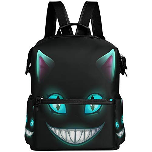 Oarencol Fantasy Scary Laugh Cat Face On Black Cheshire Halloween Backpack School Book Bag Travel Hiking Camping Laptop Daypack