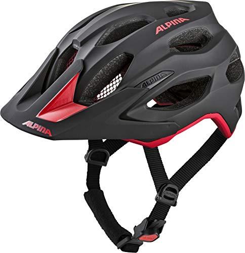 ALPINA Unisex - Erwachsene, CARAPAX 2.0 Fahrradhelm, black-red, 52-57 cm