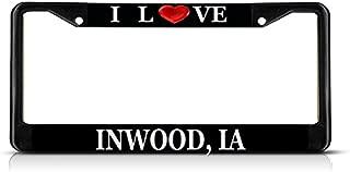 Sign Destination Metal Insert License Plate Frame I Love Heart Inwood, Ia Weatherproof Car Accessories Black 2 Holes Solid Insert 1 Frame
