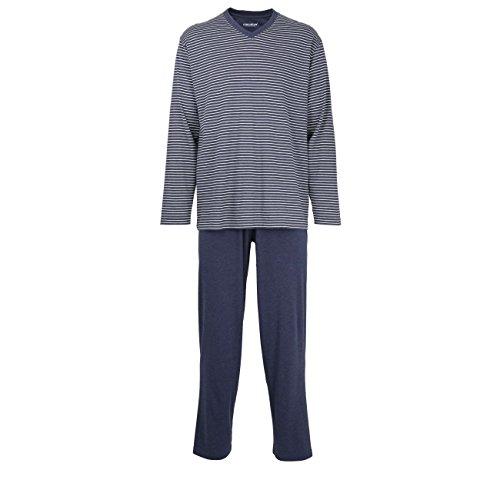 Ceceba Herren Pyjama, Schlafanzug, Oberteil und Hose - Langarm, Baumwolle, Single Jersey blau, gestreift 64